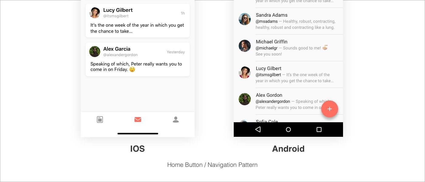 Difference between navigation pattern in iOS and Android