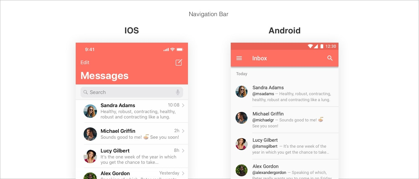 navigation difference between iOS and Android