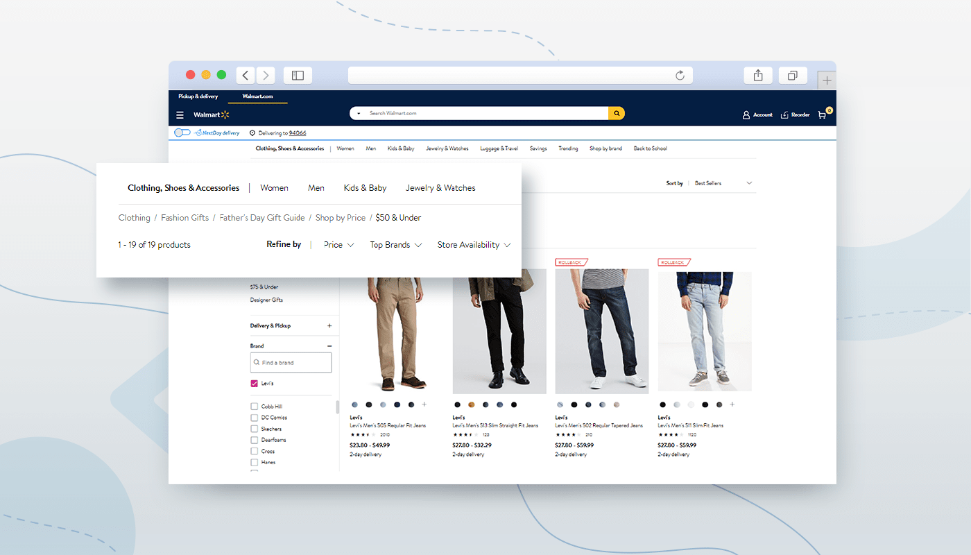 ecommerce website design breadcrumbs example