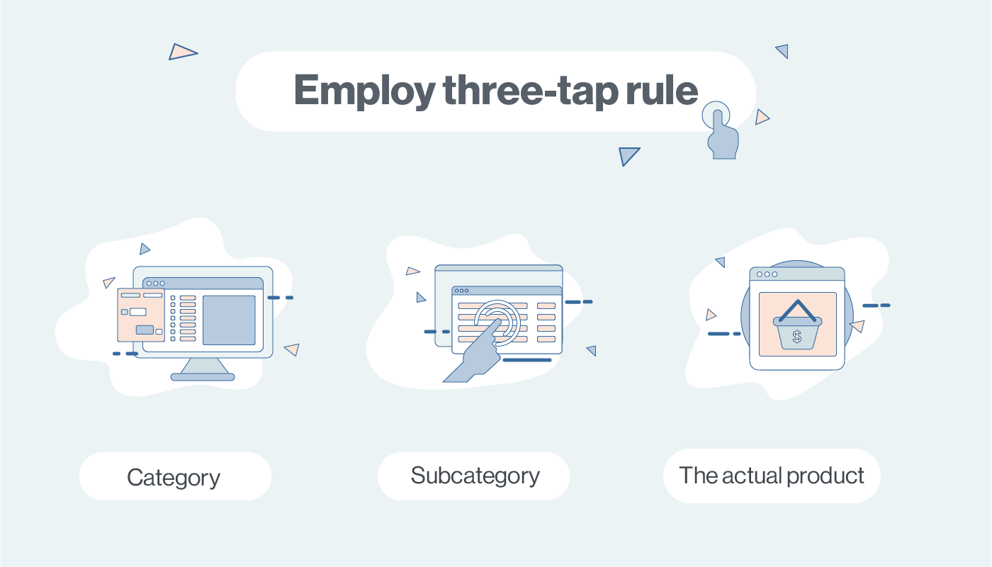 ecommerce web design three-tap rule