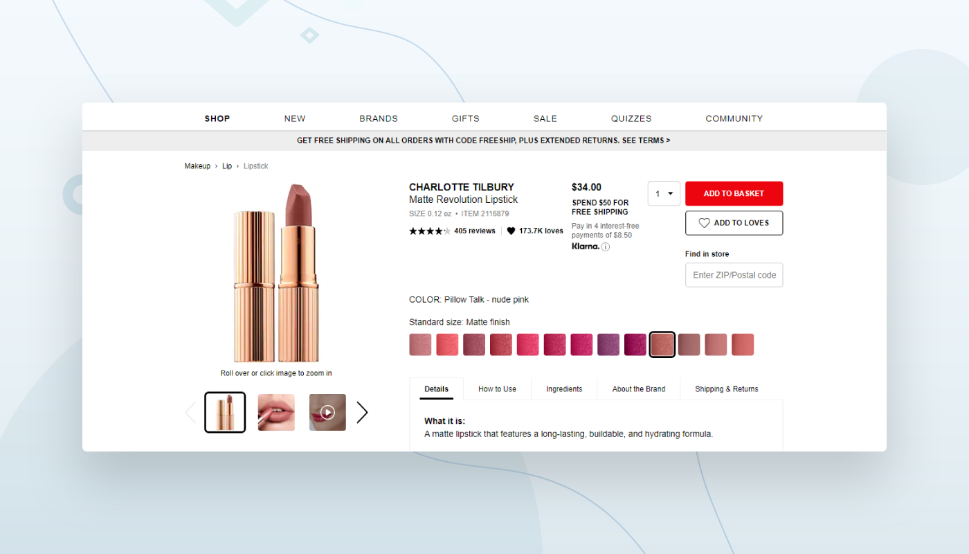 ecommerce web design example of filters