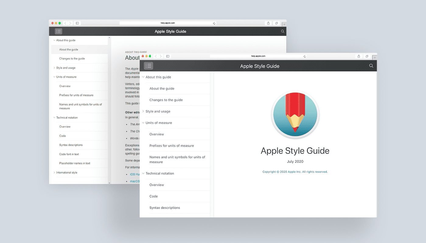 Apple style guide example