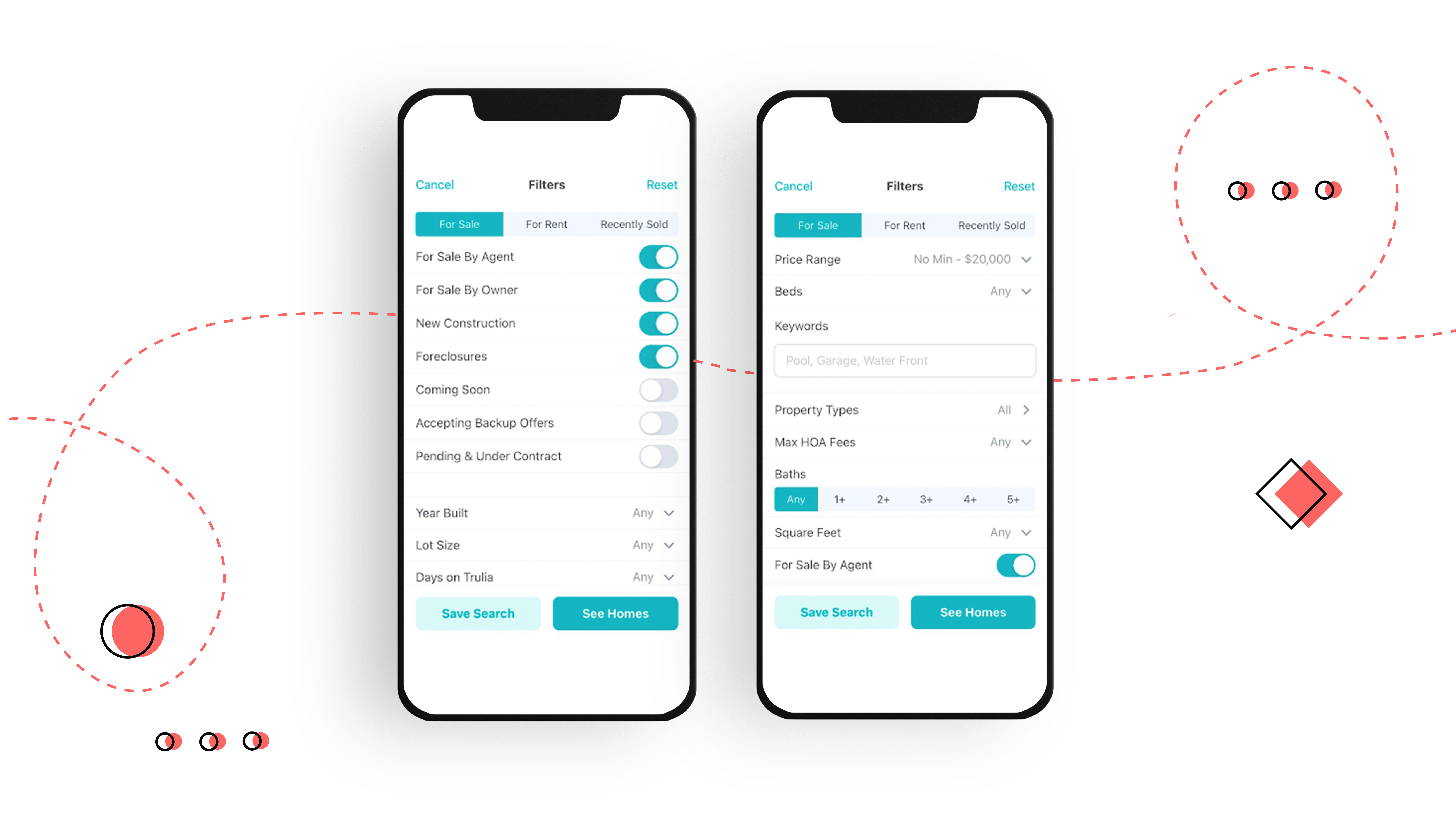 advanced search function of real estate mobile app design