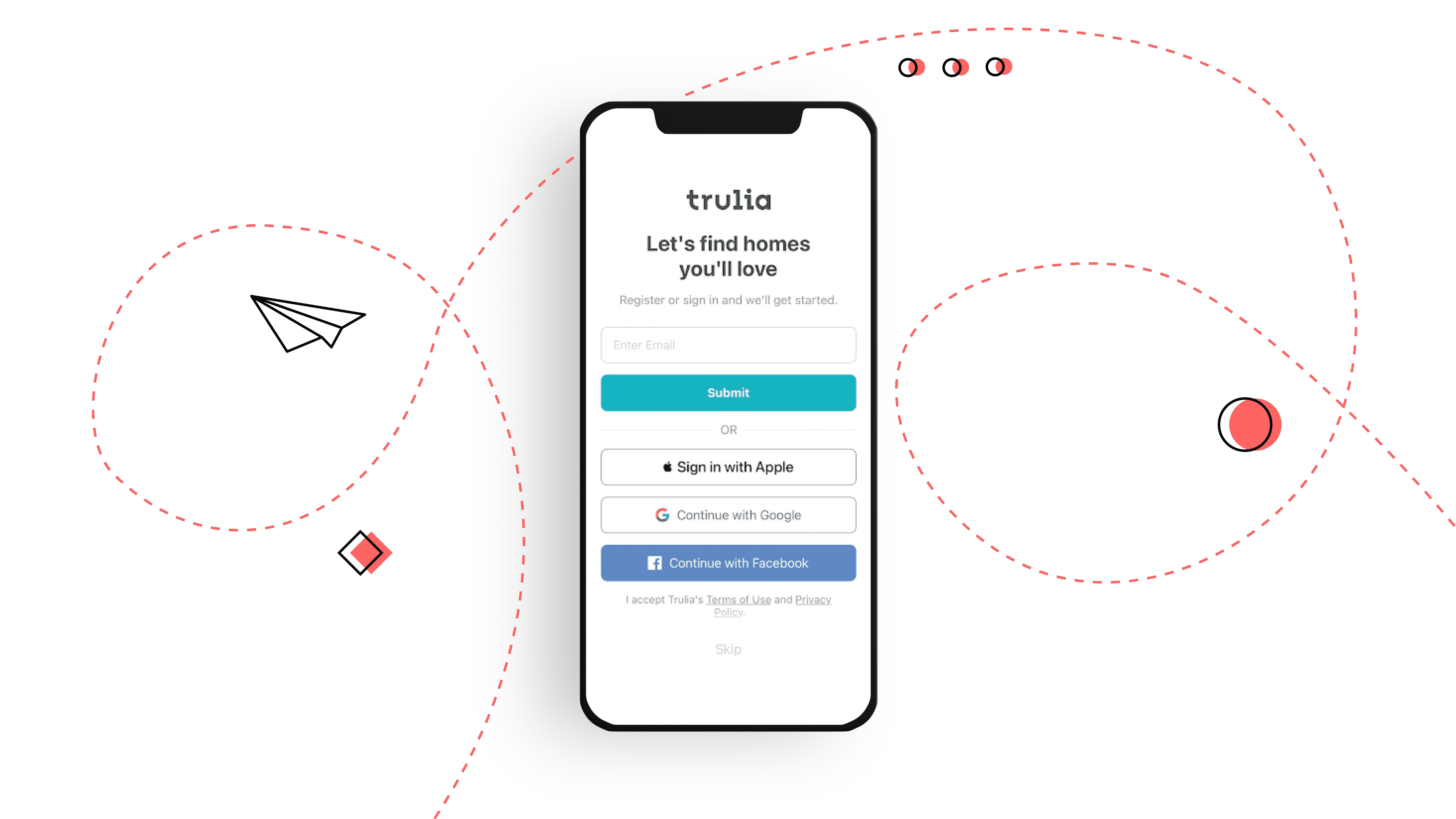 real estate mobile app design registration methods