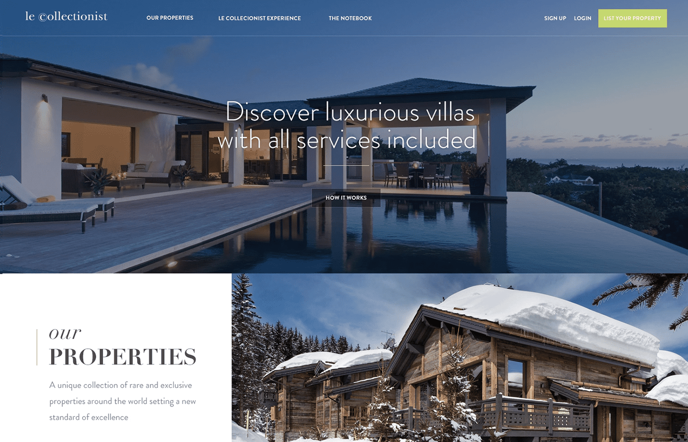 real estate website design example: Le collectionist